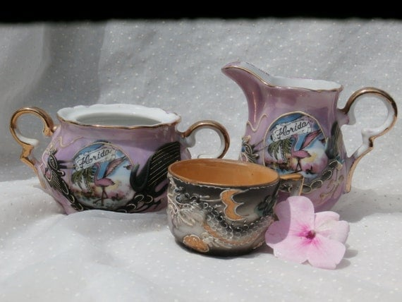 3 Pieces Vintage Dragonware, Black Demitasse, Pink Florida Creamer and Sugar