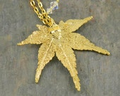 24K Gold Japanese Maple Leaf Pendant on Long Chain