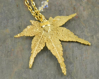 24K Gold Japanese Maple Leaf Pendant on Long Chain, Real Leaf Necklace, Pendant Necklace