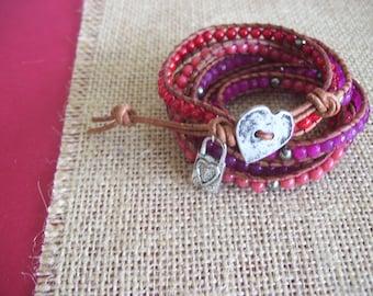 Wrap bracelet/5 wraps/shades of red/gemstones/heart closurew/charm
