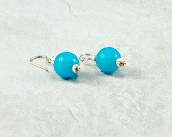 Turquoise Blue Jade Earrings, Sterling Silver Ear Wires