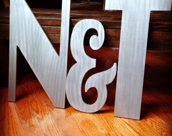 Hand cut Monogram letters measuring 20 24 20 inches Wedding decor/ wedding gift/ baby shower gift