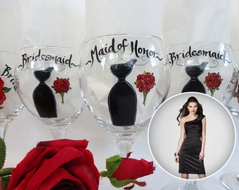 Hand Painted Bridesmaid Wine Glasses PERSONALIZED to YOUR DRESSES - Bridal Glassware