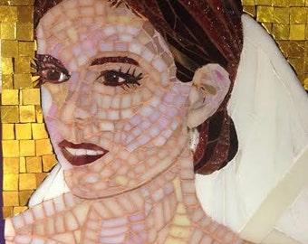 Mixed Media Mosaic, The Bride, portrait, mosaic