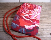 European cell Phone case with long strap in red cabbage rose print- cell phone purse - wallet.