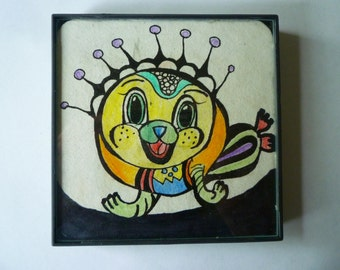 FRAMED Happy Seal Cartoon abstract Zentangle inspired, 4x4 inch, use a as a grouping on small wall.#24