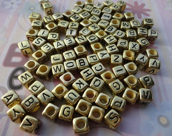 Wholesale 50pcs 6mmx6mm gold Acrylic character/letter Beads with 3mm Hole