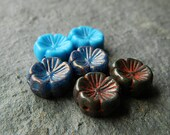 6 Pansy Flower Bead Mix, Large glass flower beads, Czech glass flower beads, Blue & Grey mix, 14mm  (6pcs) NEW