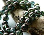 8mm Czech Glass Druk Beads, Glass Round Beads, Transparent Glass & Bronze Green/Blue Luster (25pcs) NEW