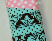 Aqua and Brown Damask & Pink Dots Spill Proof Interchangeable Circular DPN Knitting Needle Case Organizer