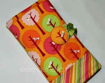 Orange Birds Crochet Hook Case Organizer - Summer Song - Button Closure - Notions Zipper Pocket - Lime Green - Made to Order