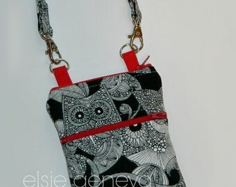 Black White and Red Owl iPhone 6S Note Phone Case with Wristlet Back Zipper Pocket 6 Plus Samsung Galaxy Android Note Shoulder Strap Satchel