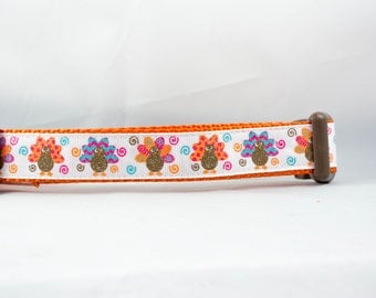 """Funky Turkey Dog Collar, 1"""" inch wide, buckle or martingale, thanksgiving, Halloween, fall, holiday, festive, glitter"""