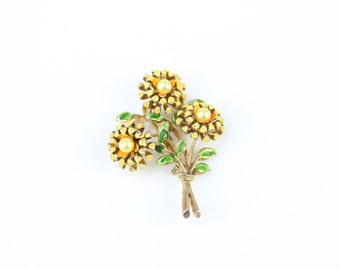 Stunning Sunflower Brooch with Blue Stones