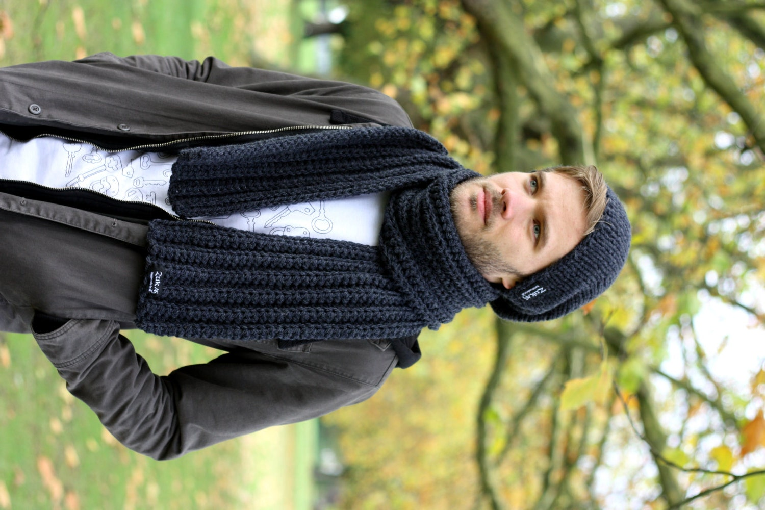 Scarfs Men Scarf And Casual On Pinterest Nice Scarves: Men's Scarf Anthracite Chunky Scarf For Men Unisex Scarf