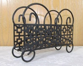 Vintage Reticulated Black Metal Napkin Holder Cottage Chic - Shipping Included