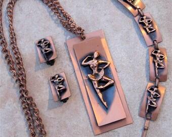 Vintage Cooper Necklace Copper Bracelet Copper Earrings Ballet Dancers ON SALE
