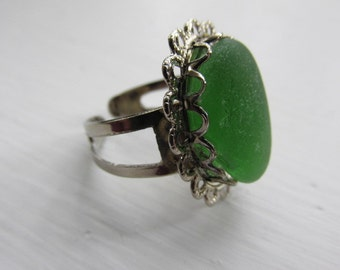 Adjustable Ring, Green Seaglass Ring, Beach Glass Jewelry, Genuine Sea Glass Ring