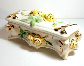 Yellow Rose Vintage Ceramic Box, Vintage Rose Covered Container, Yellow Rose 14kt Gold Trinket Box, Gold Yellow Oblong Rose Trinket Box