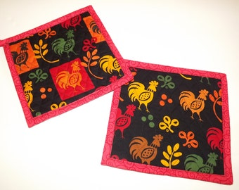 Insulated Pot Holders, Novelty Rooster Print, Hot Pot Trivet