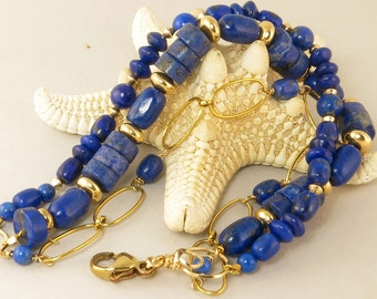 Royal Blue Lapis Gemstone Three Strand Bracelet, Lapis Lazuli 14k Gold Filled Beaded Bracelet