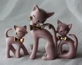 Vintage Thames Midcentury Spaghetti Cat Figurines - Set of 3 Handpainted RARE