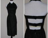 Vintage 1990's Miss O by Oscar De La Renta dress / 90's backless dress / size 8 / 27 waist