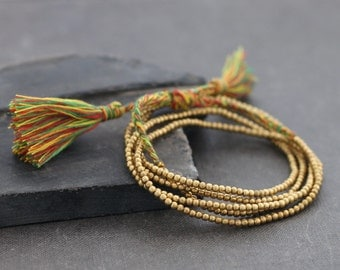Simple Long Rasta Tassel Necklace Wrap Bracelet