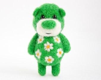 Green felted bear