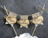 Happy Birthday Cake Topper Burlap & Lace Bunting Flags Banner Wood Hearts Rustic Cake Topper Country Shabby Chic Cake Topper