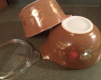 Vintage Pyrex Bowl & Casserole, Early American, Cinderella Bowl, 1 Quart Casserole w/Lid, Brown, Gold, 1970s