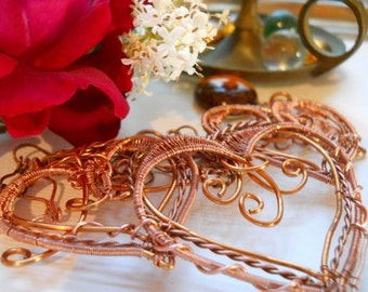 Wrapped and Woven Trio of Copper Hearts Necklace