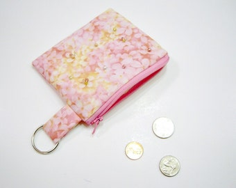 Beaded Pink and Gold Zippered Pouch or Wallet