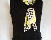 Vintage Late 1960s/Early 1970s Black Sleeveless Dress with Polka Dot Tie, Lorac Originals, Large, Mad Men