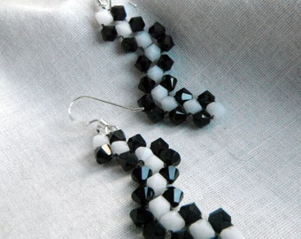 Zigzag Jet Black and Snow White Bicone Crystal Bling Earrings