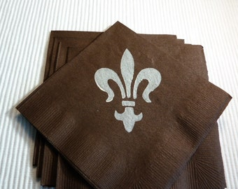 Fleur De Lis Paper Cocktail/ Lunch/ Dinner Napkins - Brown and White