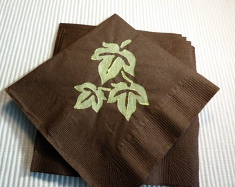 Green Leaves on Paper Cocktail/ Luncheon/ Dinner/ Beverage Napkins - Brown and Green