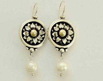 Sterling silver earrings, dangle earrings, freshwater pearl earrings, mixed metal earrings, gold earrings, - Sun Showers E0285-1