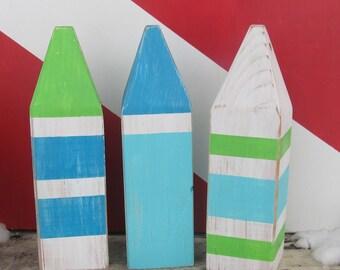 OOAK Wooden Buoys Set of 3. Made to Order. Lake decor Nautical Decor. Beach Decor