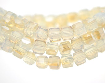 Cube Crystal Glass Faceted beads 8mm Opal Gold Champagne- FZ0833/ 70pcs