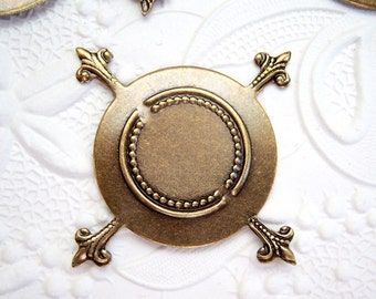 2 - Antiqued brass CB pronged setting for 25mm cabochon - RR116