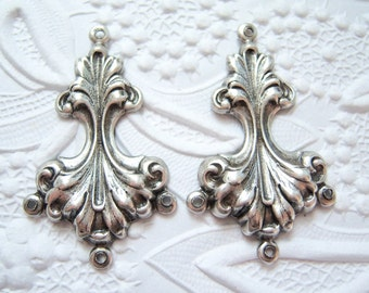 Antique silver plated Rococo style 3 ring earring connector drop, lot of (2) -CE136