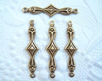 Antiqued brass art deco diamond connector lot of (4) - FV101