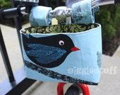 READY to Ship -- Black Bird Bike Basket, Kid Bike Bag, Handlebar Basket
