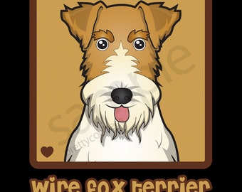 Wire Fox Terrier Cartoon Heart T-Shirt Tee - Men's, Women's Ladies, Short, Long Sleeve, Youth Kids