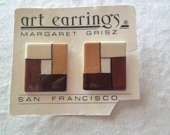 """Vintage San Francisco Designer """"Margaret Grisz"""" Funky Squares Design earrings"""