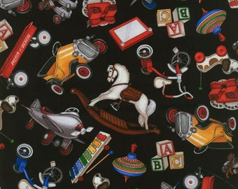 Toys on Black Background ~ RJR Fabrics ~ Where the Toys Are Collection  1/2 Yard Cut ~ 100% Cotton Fabric ~ 1709-2