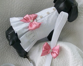 Wedding Dog Dress and Leash Set