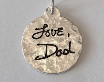 Memorial Jewelry Your Actual Loved Ones Writing Tab Top Silver Pendant Made to Order