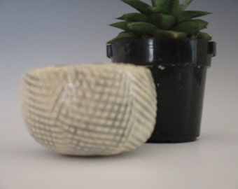 Small Planter Ceramic Flower Pot White with Grey detailing